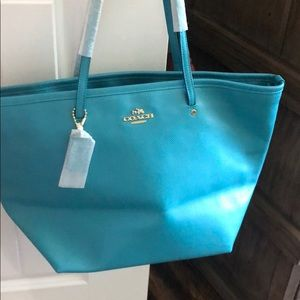 Coach tote, teal color, Cadet Blue